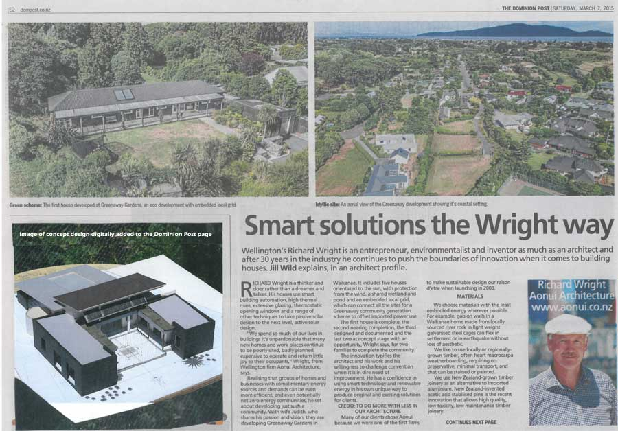 Dominion Post feature on Richard Wright, architect, page 1