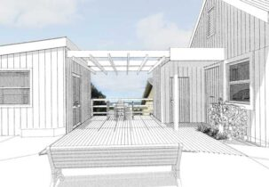 3D view of pergola joining garage and sleepout